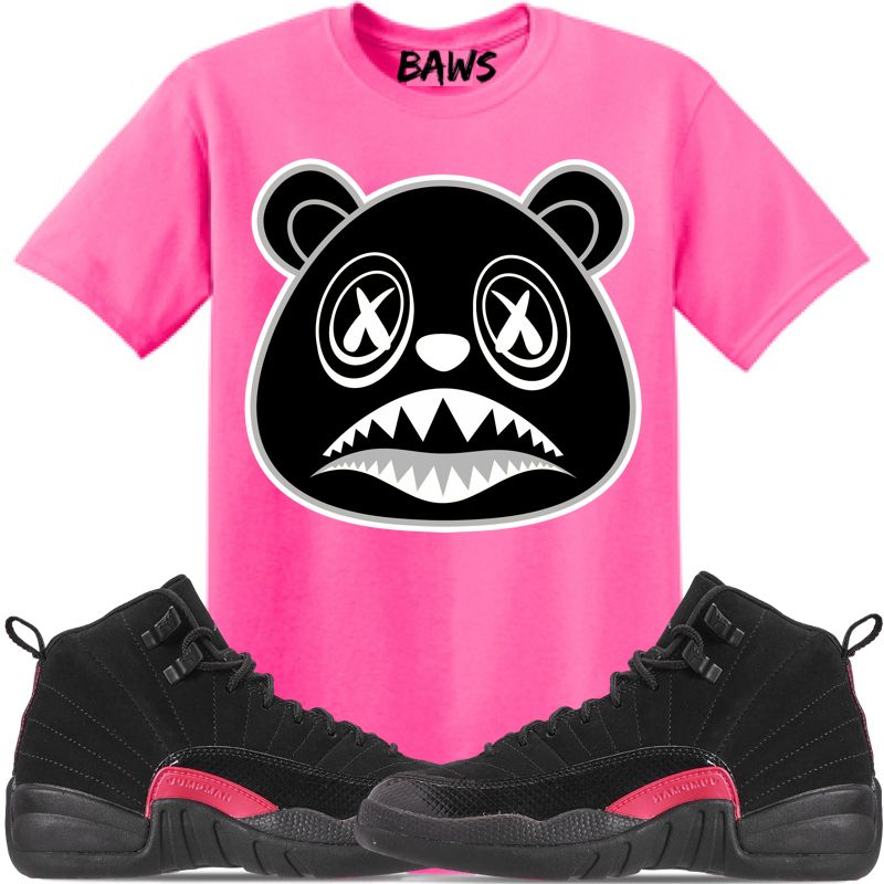 Jordan 12 Pink Rush Sneaker Tees Shirt to match is available in sizes Small -3XL 3cc1b3755