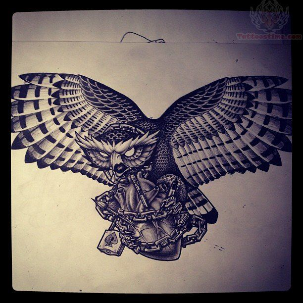 Open wings owl with barbed heart tattoo design awesome for Owl heart tattoo