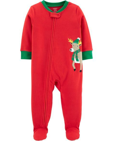 54113099925d 1-Piece Christmas Reindeer Fleece PJs