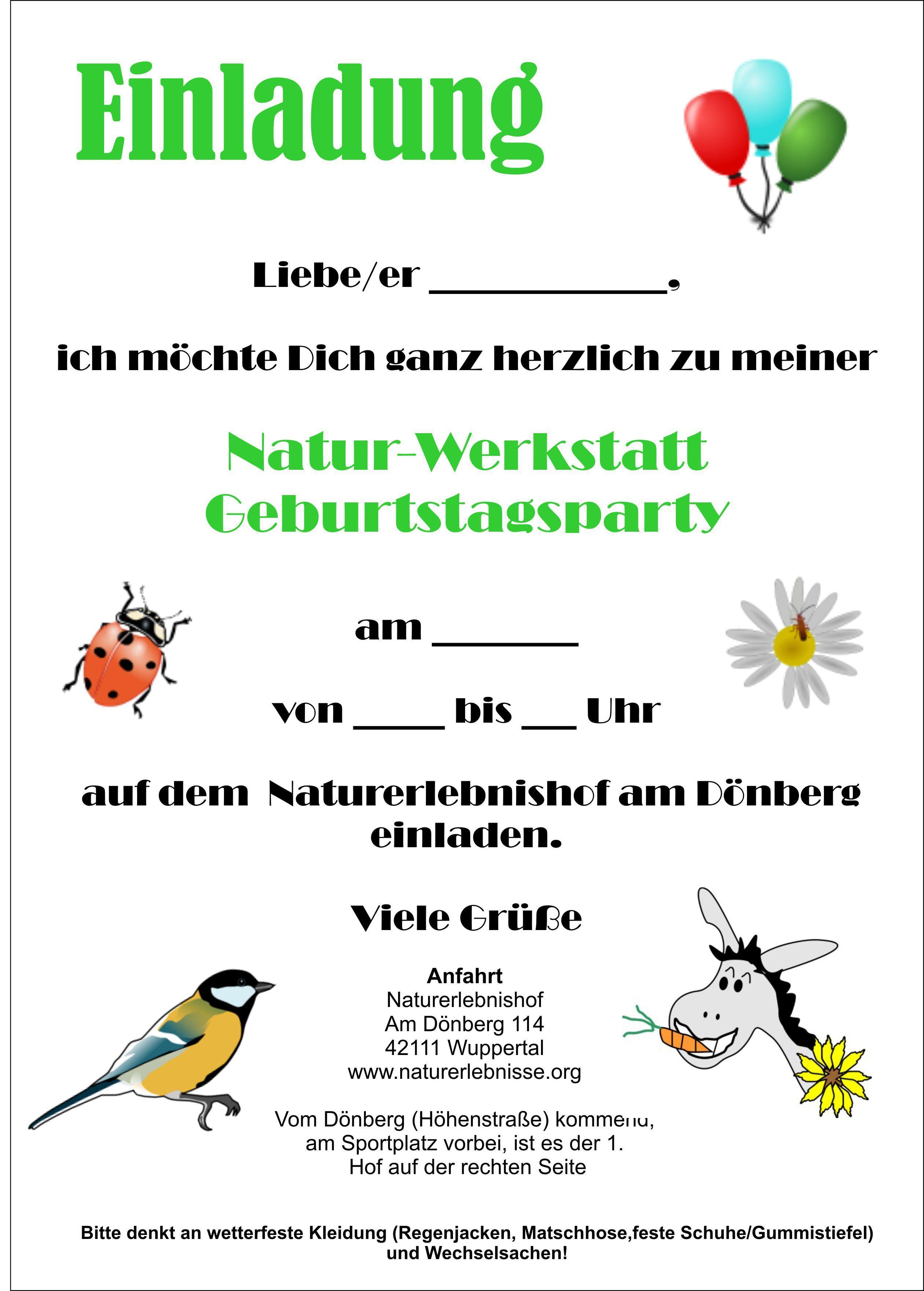 marvelous einladung kindergeburtstag natur #1: Text Einladung Kindergeburtstag Ohne Eltern