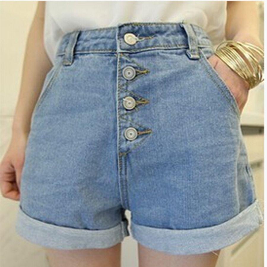 19944e9ed Coreia Do Estilo do vintage do Verão Shorts Jeans Quentes Para As Mulheres  Mais tamanho Shorts Jeans de Cintura Alta Perna Larga Botão Hotpants Corto  ...