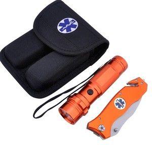 New EMT Paramedic EMS Orange Safety Knife Flashlight Combo Set