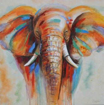 Schilderij olifant 100x100 nieuw marij schilderij for Schilderij olifant