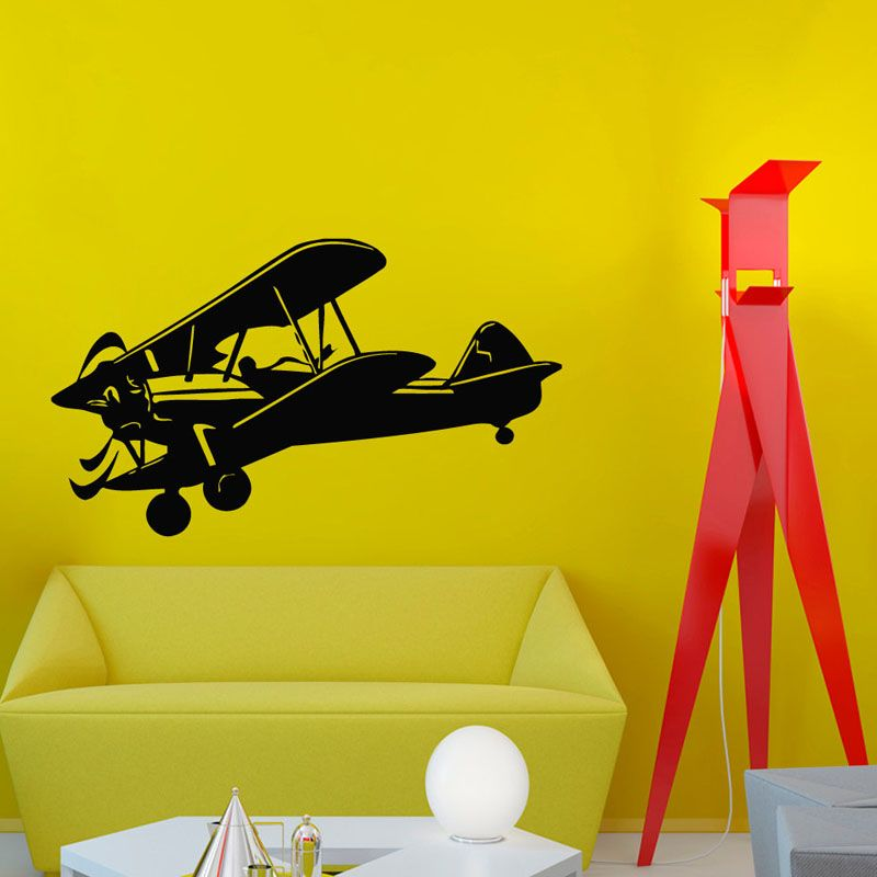 Retro Plane Wall Stickers Home Decor Living Room Nursery Wall Decor ...