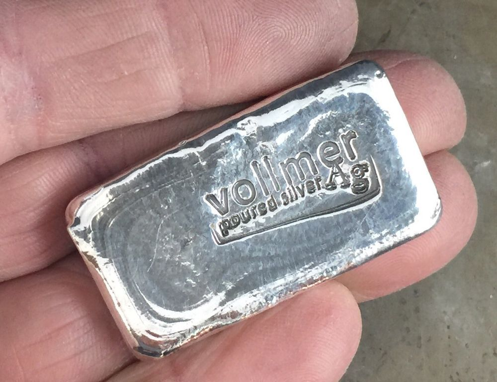 2 Oz 999 Fine Silver Bullion Vollmer Poured Silver One Of A Kind Production Silver Bullion Silver Art Fine Silver