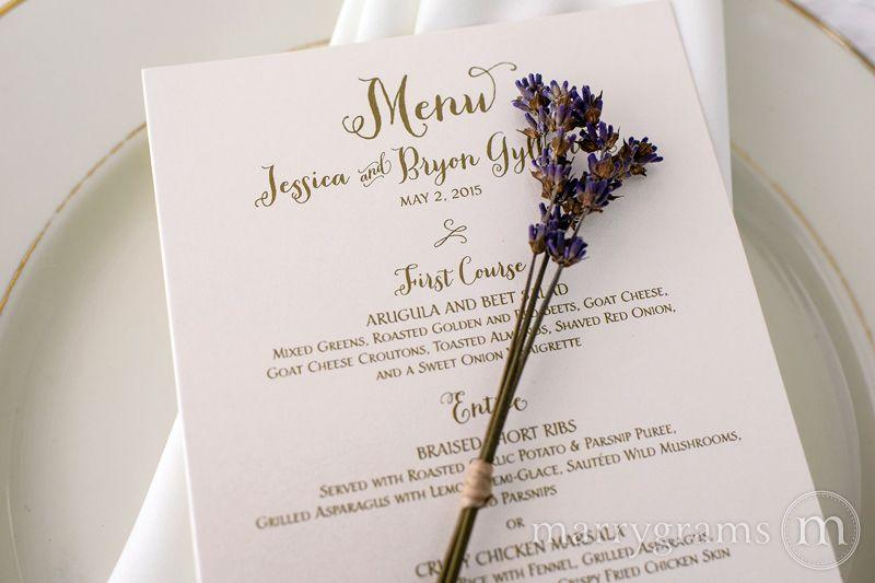 Custom Wedding Reception Dinner Table Menu  Rehearsal Menu