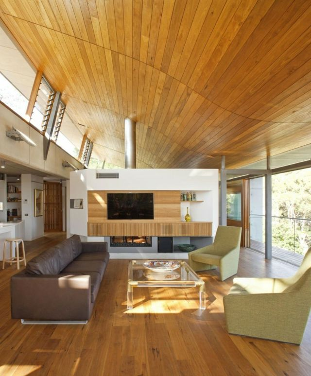 Luxury Parkette Decken Gestaltung Holz Ledersofa gr ne Sessel Ideen f r Wohnzimmer