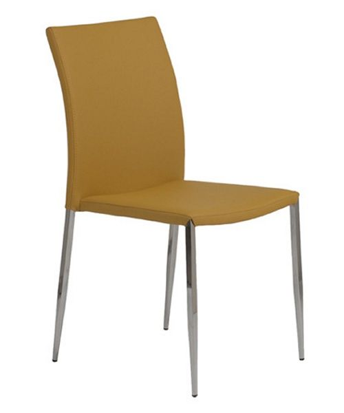Euro Style Diana Leather Stacking Dining Chair Saffron Gold