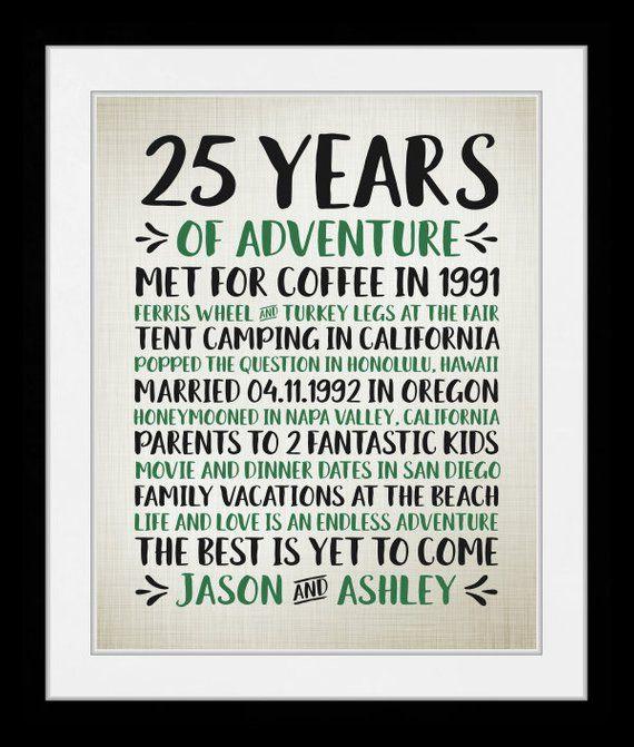 Any Year 25th Wedding Anniversary Years Of Adventure