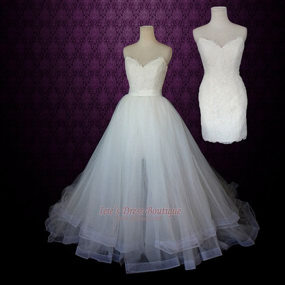 Strapless Two Piece Convertible Wedding Dress | Lace Wedding Dress ...