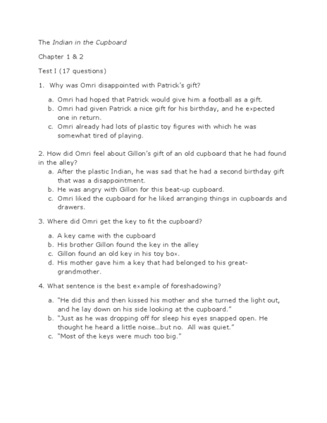 The Indian In The Cupboard Chapters 1 And 2 Comprehension Worksheet Lesson Pla Indian In The Cupboard Comprehension Worksheets Learn Something New Everyday