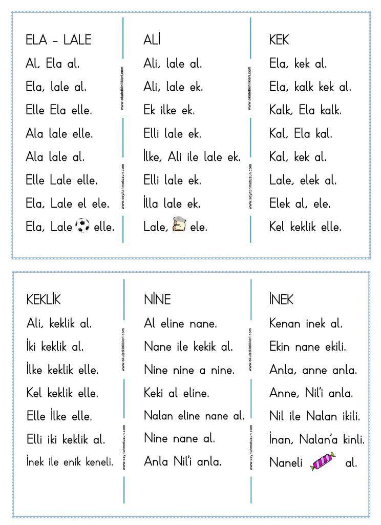 """1. Sınıf """"elakin"""" Okuma Yazma Etkinliği pdf formatında ..."""