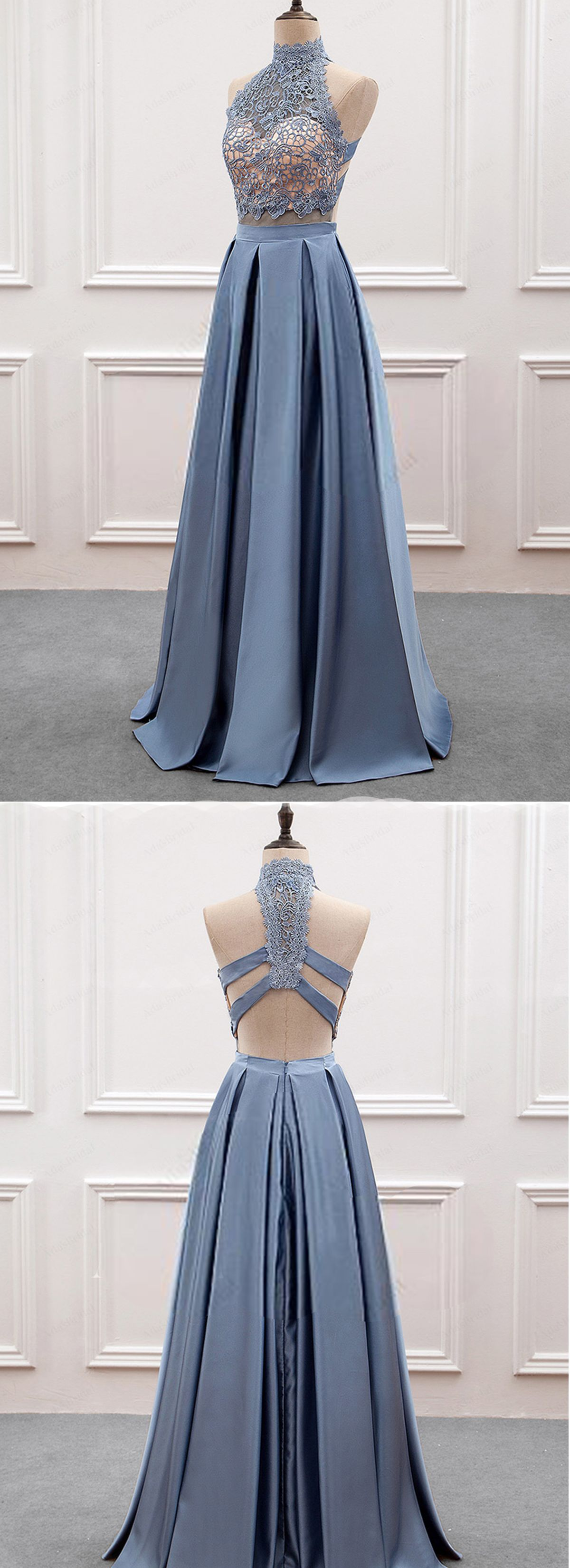 Gray blue satin high neck backless long prom dress lace top evening