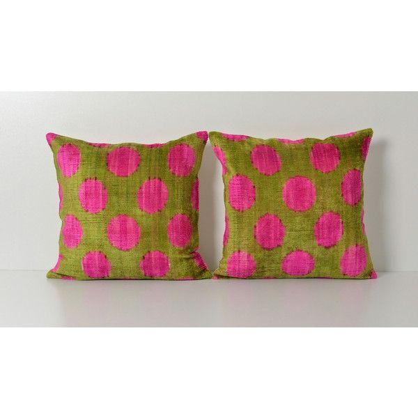 Pink Polka Dot Pillow Ikat Pillow Set Pink Green Pillow Decorative Magnificent Pink And Green Decorative Pillows