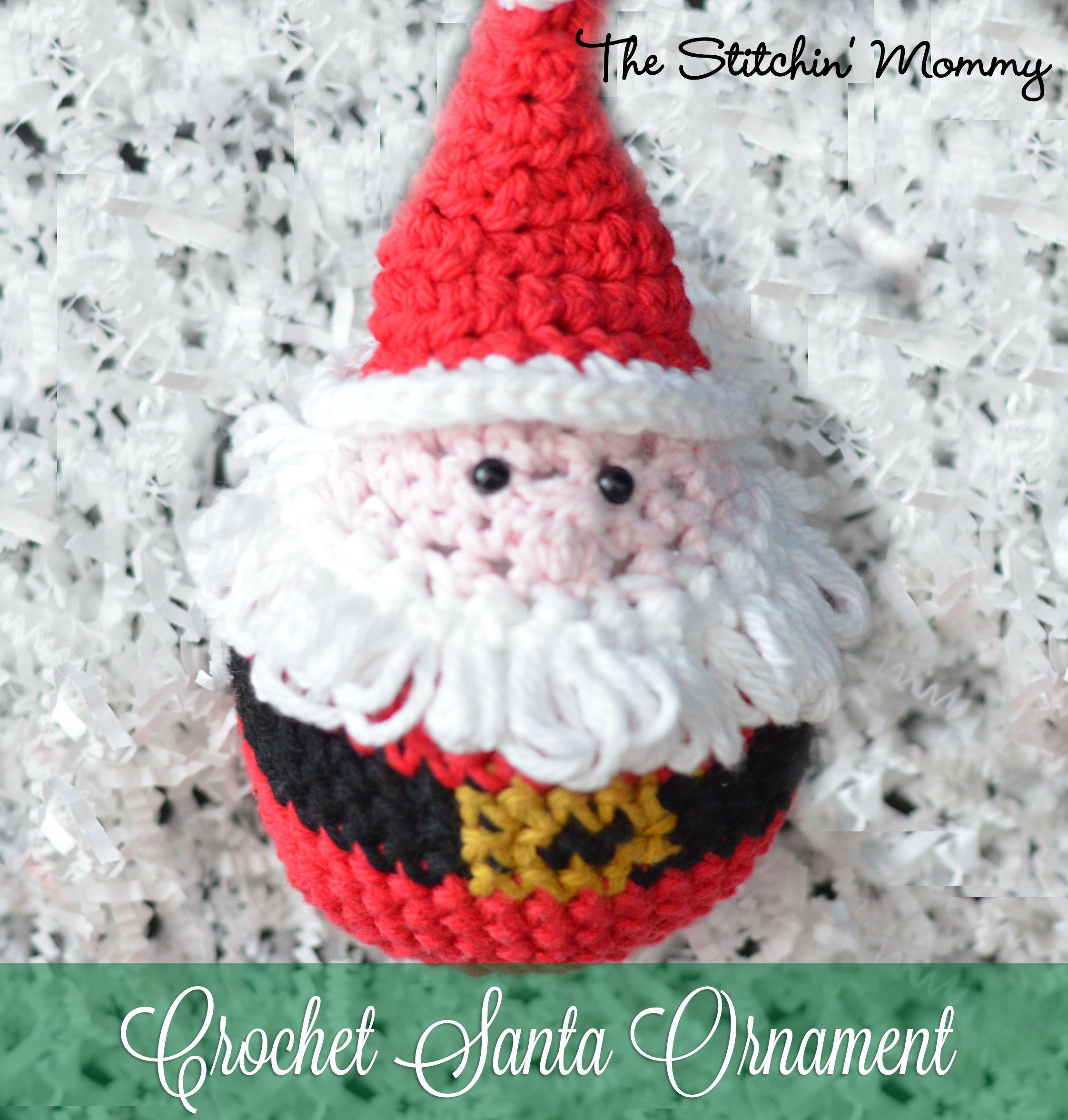 Crochet Santa Ornament - Free Pattern | Tejido de navidad, Árbol ...