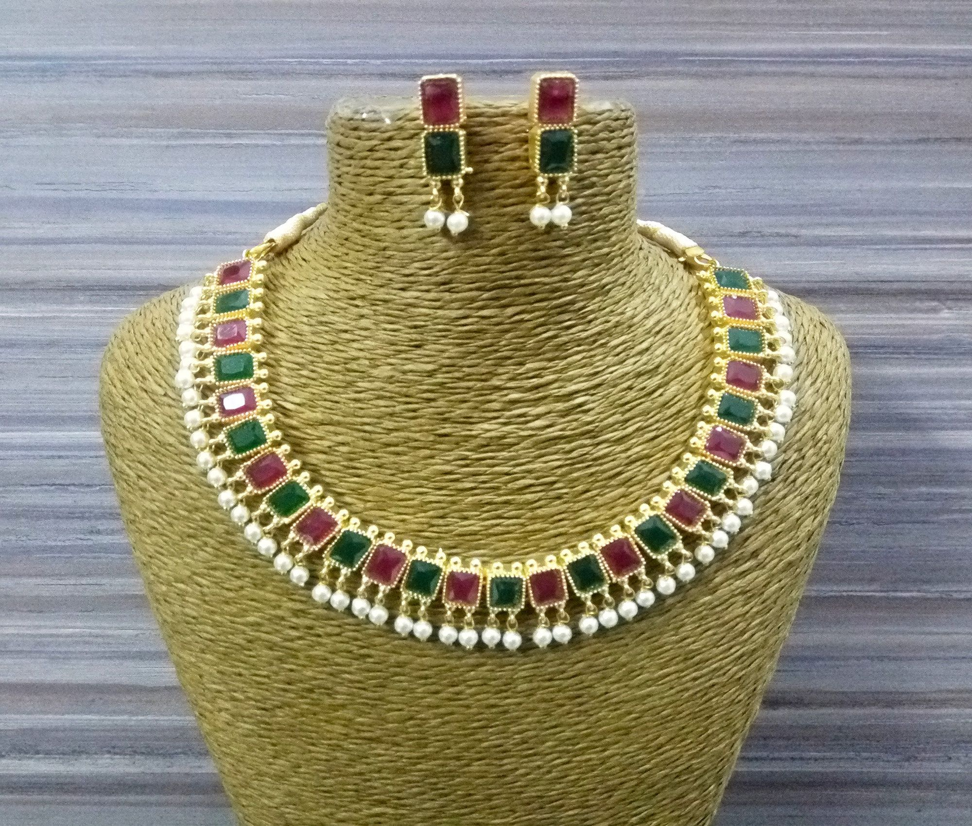 Photo of Designer Pearls Necklace Ruby and Emerald Stone Studded Gold Plated Choker Indian Jewelry Statement Necklace Fashion Party Wear Wedding Set