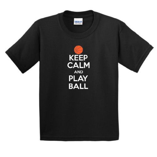 Keep Calm and Play Ball Youth T-Shirt XL Black