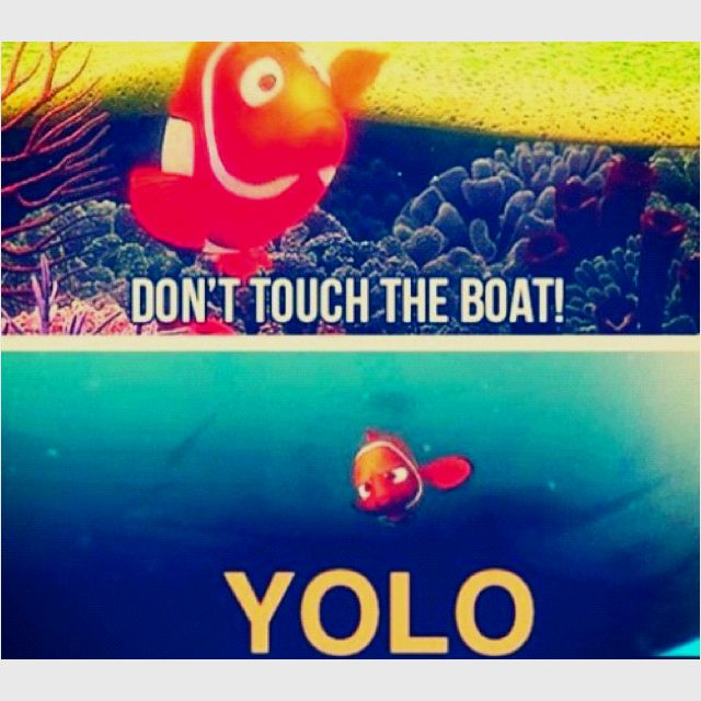 You only live once, that's the motto...YOLO (LOL)