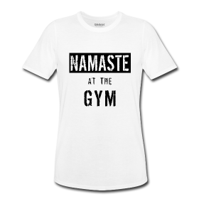 Namaste at the Gym Men's Performance Graphic T- Shirt. #Namaste #Namasteshirt #fitness #fitnessshirt #gym #mensfitnessshirt #graphictee #bodybuilding #gymshirt #forgymlover