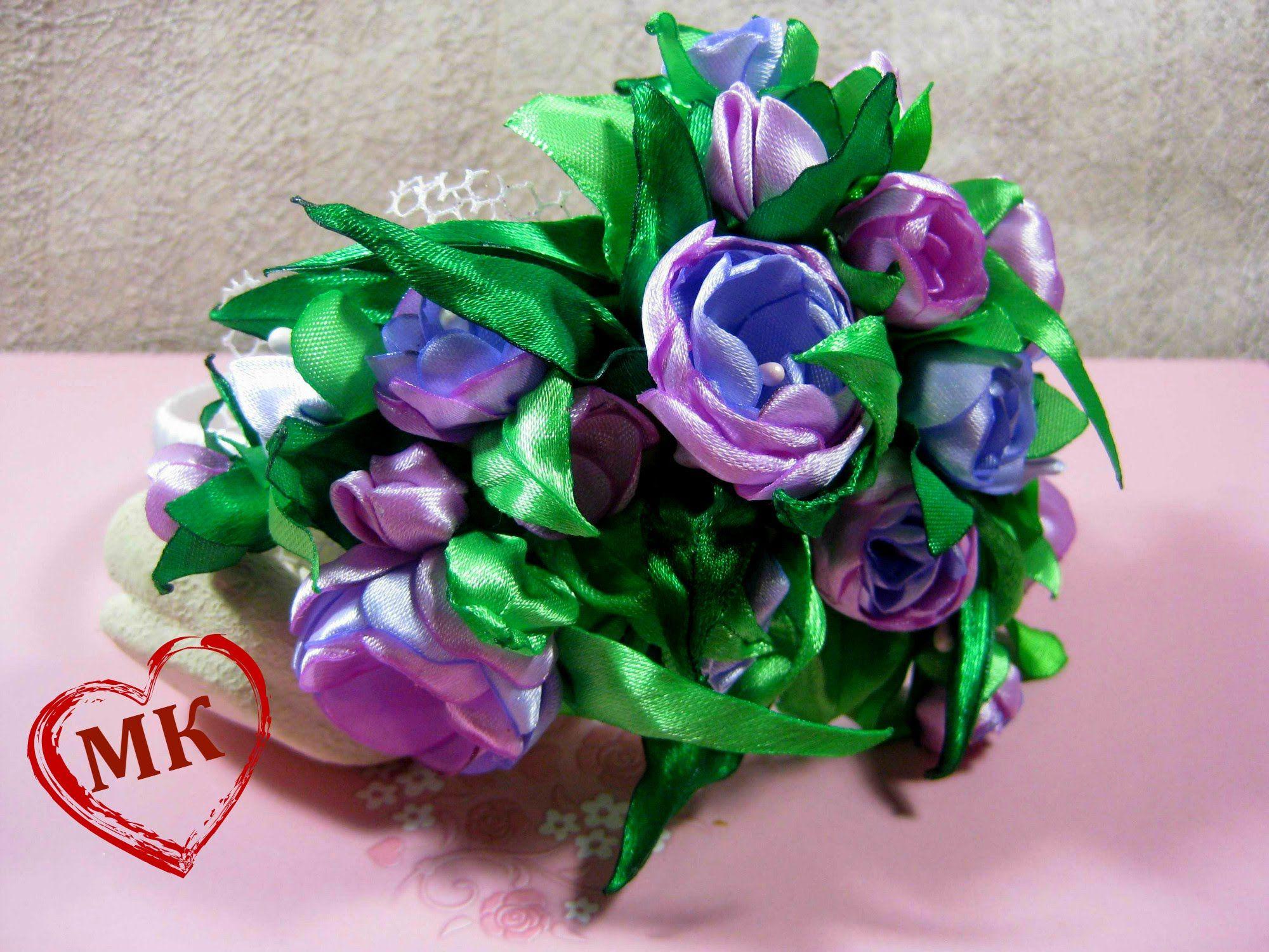 Цветы из ткани своими руками. Как сделать ободок с цветами.