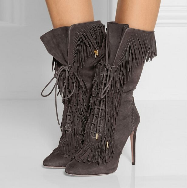 New Celebrity Shoes Sexy Lace Up Fringe Boots Pointed Toe Grey ...