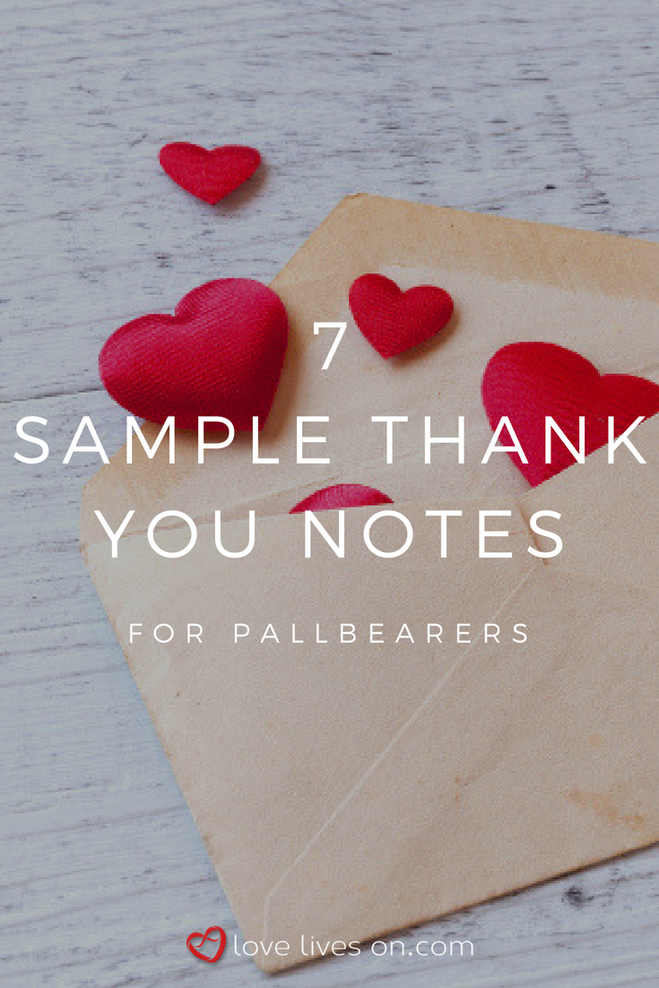 7 sample thank you notes for pallbearers