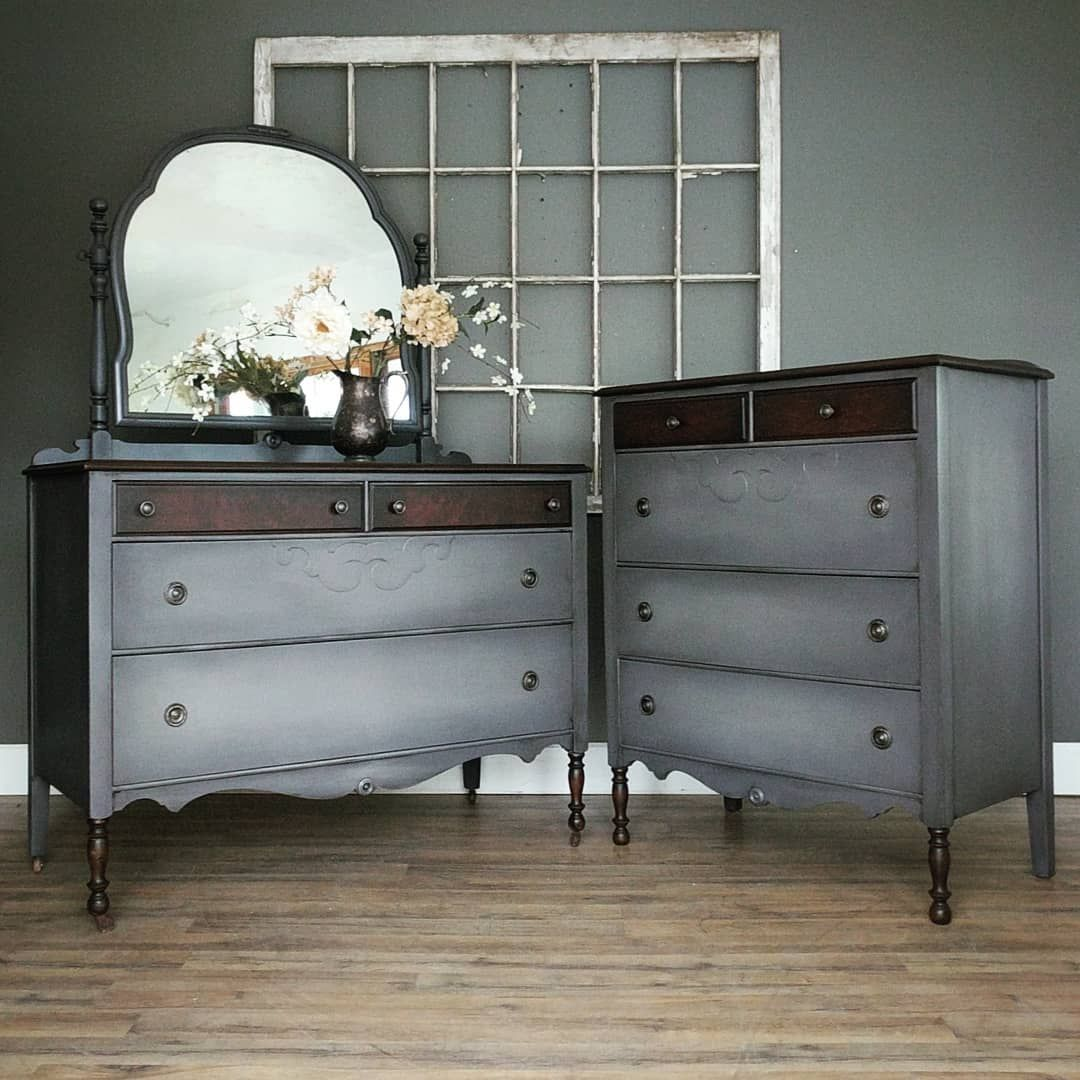 Sold This Is A Great Matching Dresser Set In Greige With Soft Highlights And A Little Extra Wood Det Flipping Furniture Furniture Makeover Upcycled Furniture