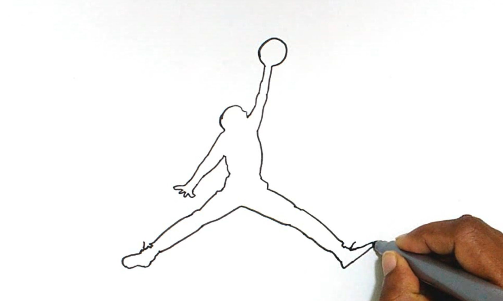 Learn how to draw the Jordan Jumpman logo in this step by step