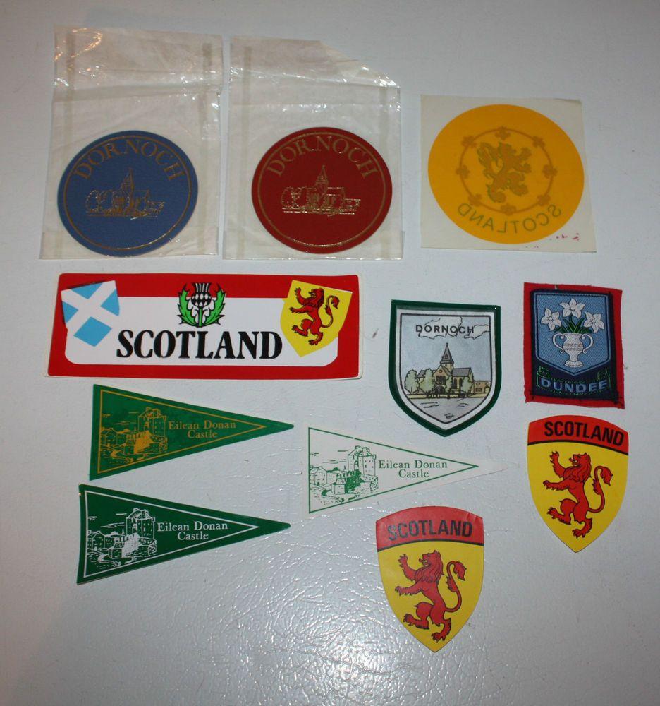 Lot 11 Scotland Stickers Decals Iron-On Eilean Donan Castle Dornoch Dundee Craft