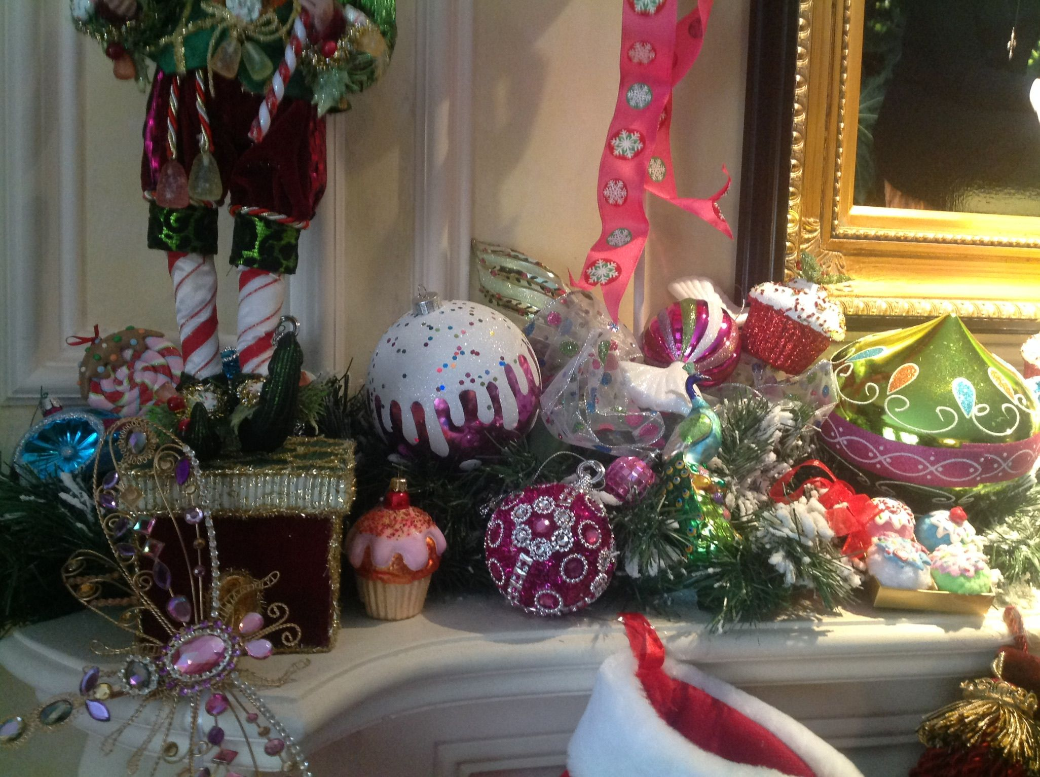 Christmas mantle decorations, Mark Roberts stocking holder, ornaments, jewels.