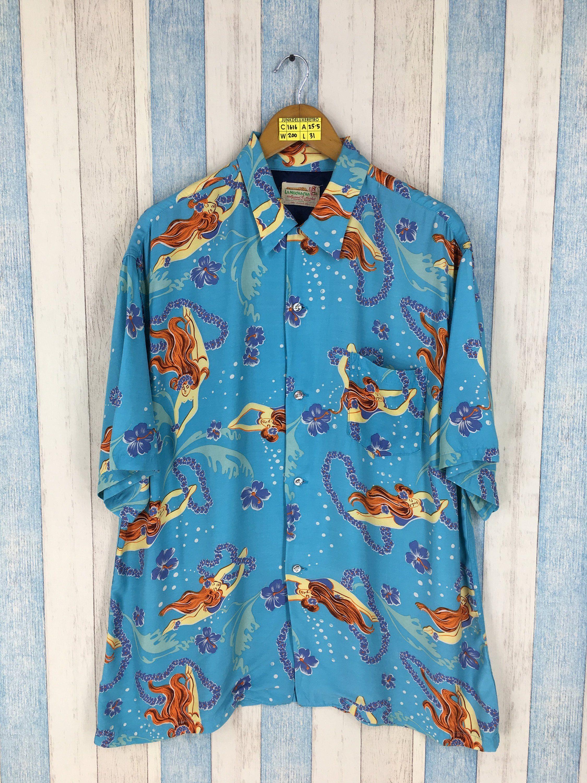 80s90s Surfer Abstract Mud Cloth-Style Print Hawaiian Shirt