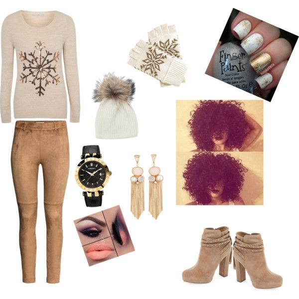 A fashion look from November 2015 by im-love-with-the-cocoa-channel featuring H&M, Inverni, George, Versace, Jessica Simpson, nails, Winter, Tan, gloves and sno...