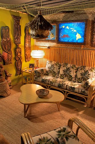 A Swank Tiki Lounge Probably Set Up In Someone S 50s