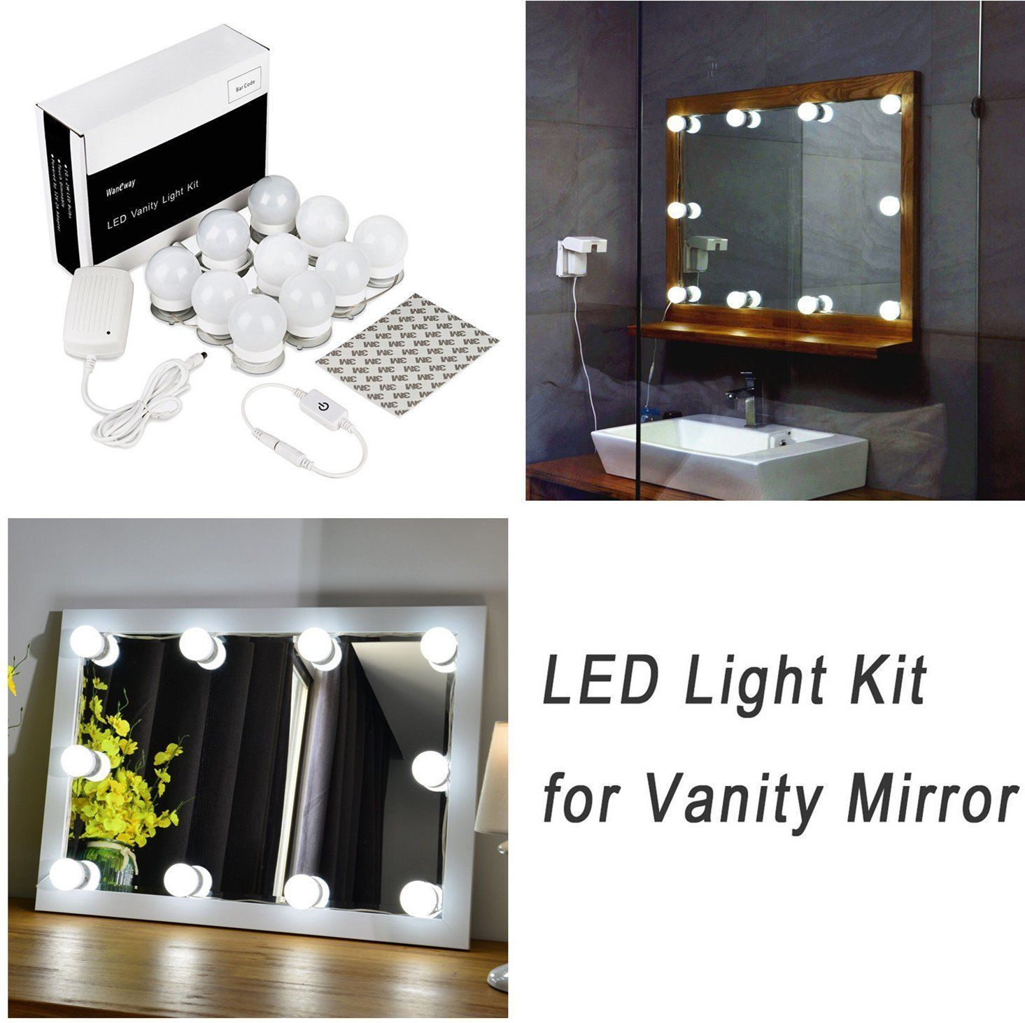 Hollywood style led vanity mirror lights kit for makeup dressing