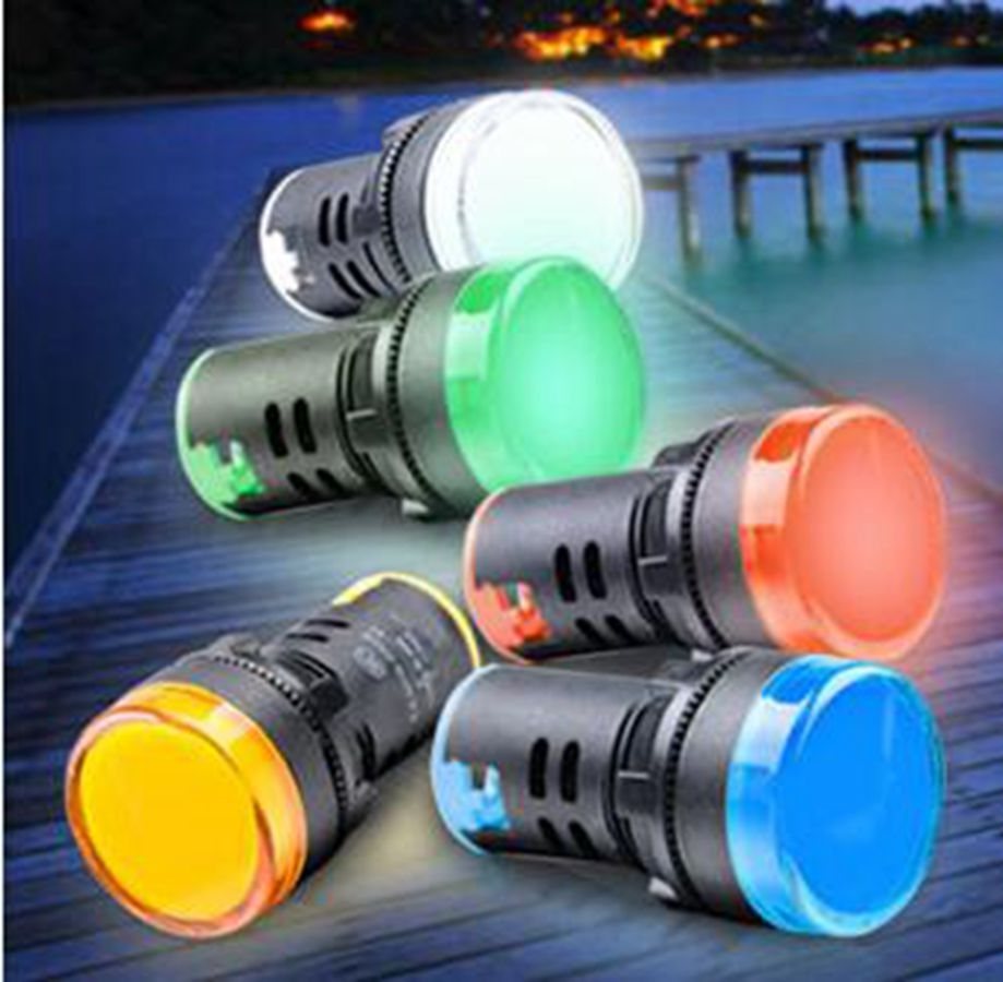 50pcs Lot Mixture Yellow Blue White Red Green Ad16 22ds Led Indicator Lights Signal Pilot Lamp 12 24 220 Indicator Lights Yellow Blue And White Led Indicator