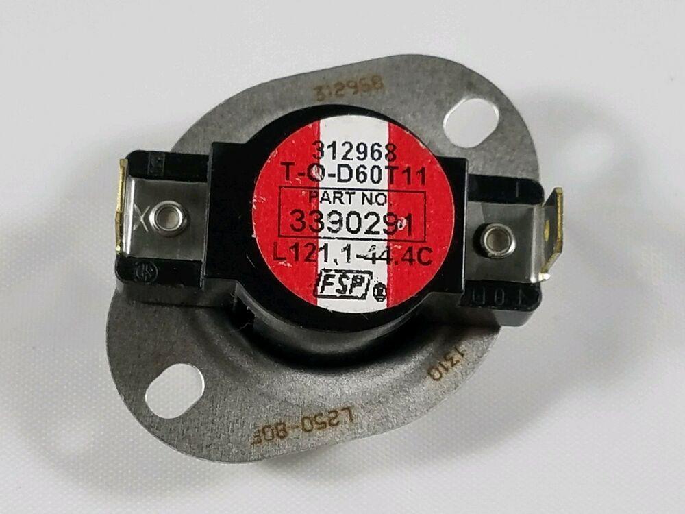 Whirlpool Maytag Roper Sears Kenmore Dryer High Limit Thermostat 3390291 Whirlpool Kenmore Dryer Thermostat Kenmore