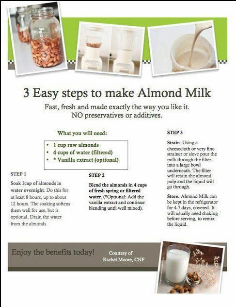 Almond Milk is high in calcium, vitamins and minerals ...