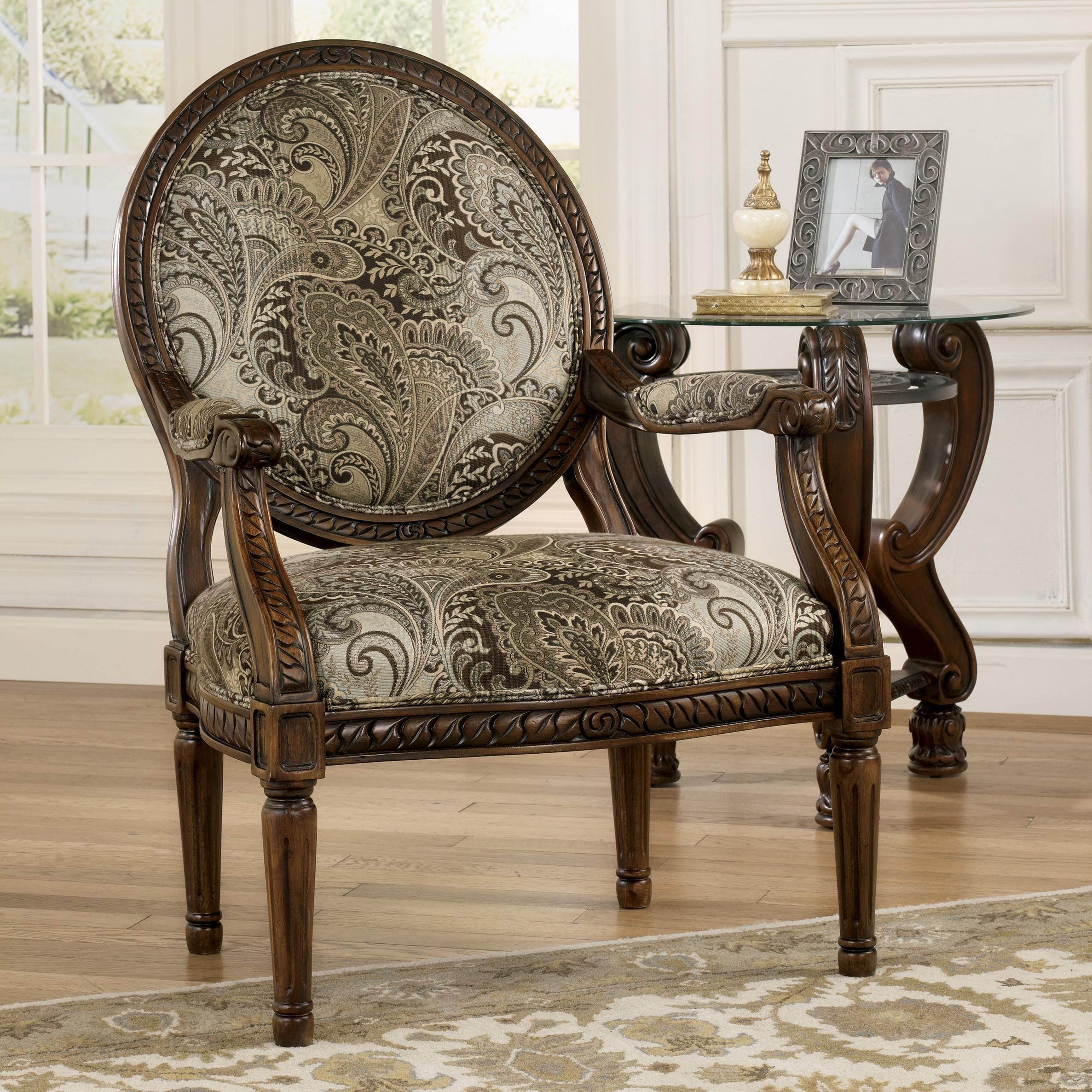 Martinsburg Traditional Showood Accent Chair With Carved Wood Frame By Signature Design By Ashley Furniture Sam S Fu Fancy Chair Furniture Couch And Loveseat