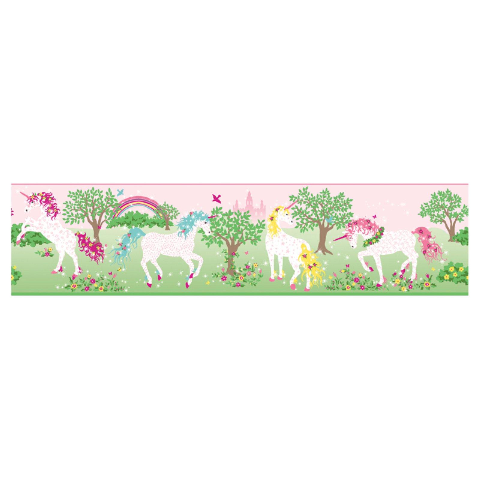 Manhattan Comfort Magic Unicorn Border Green/Pink Pink