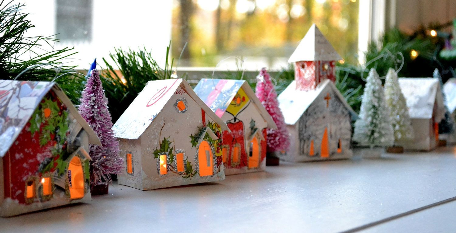 Sweet Little Putz Glitter Houses Church Village House Etsy Christmas Card Crafts Glitter Houses Vintage Christmas Cards