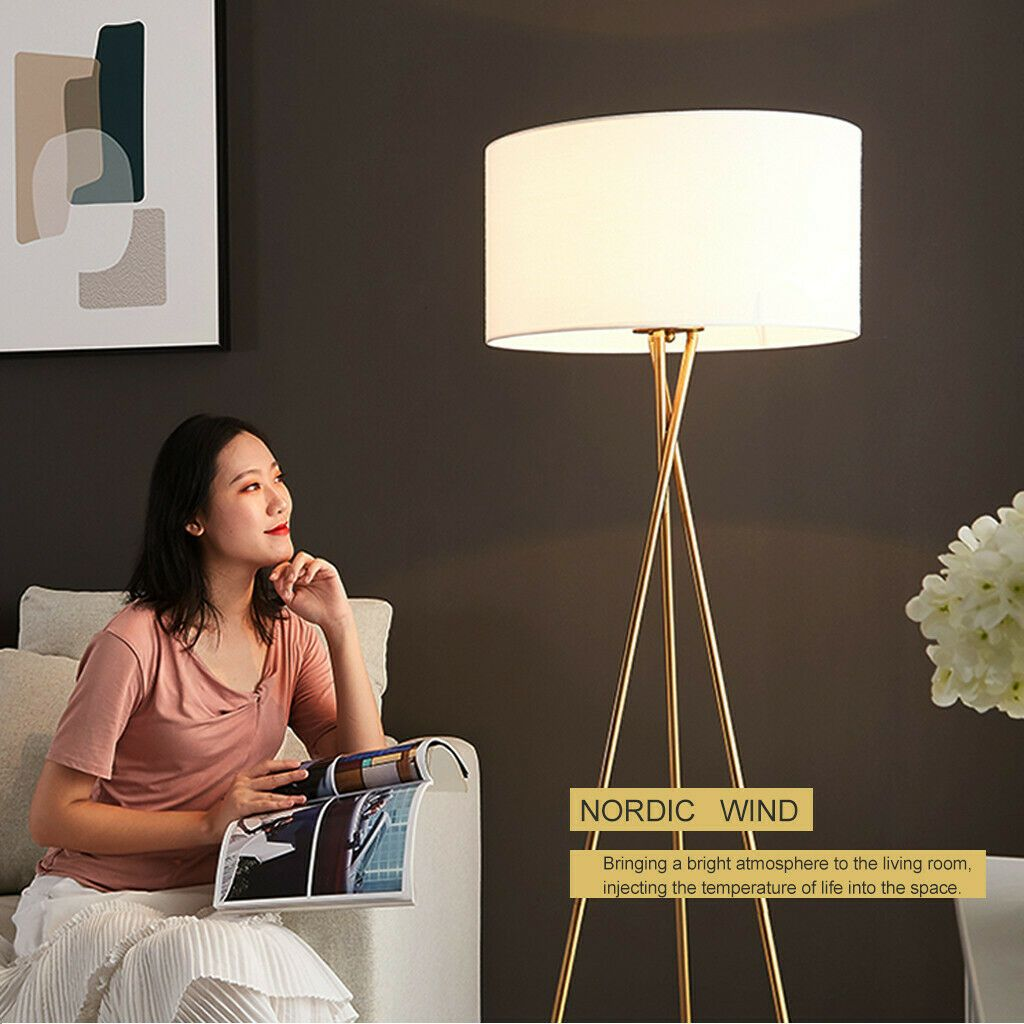 Details About 58 Tall Minimalist Wood Tripod Floor Lamp Bedroom