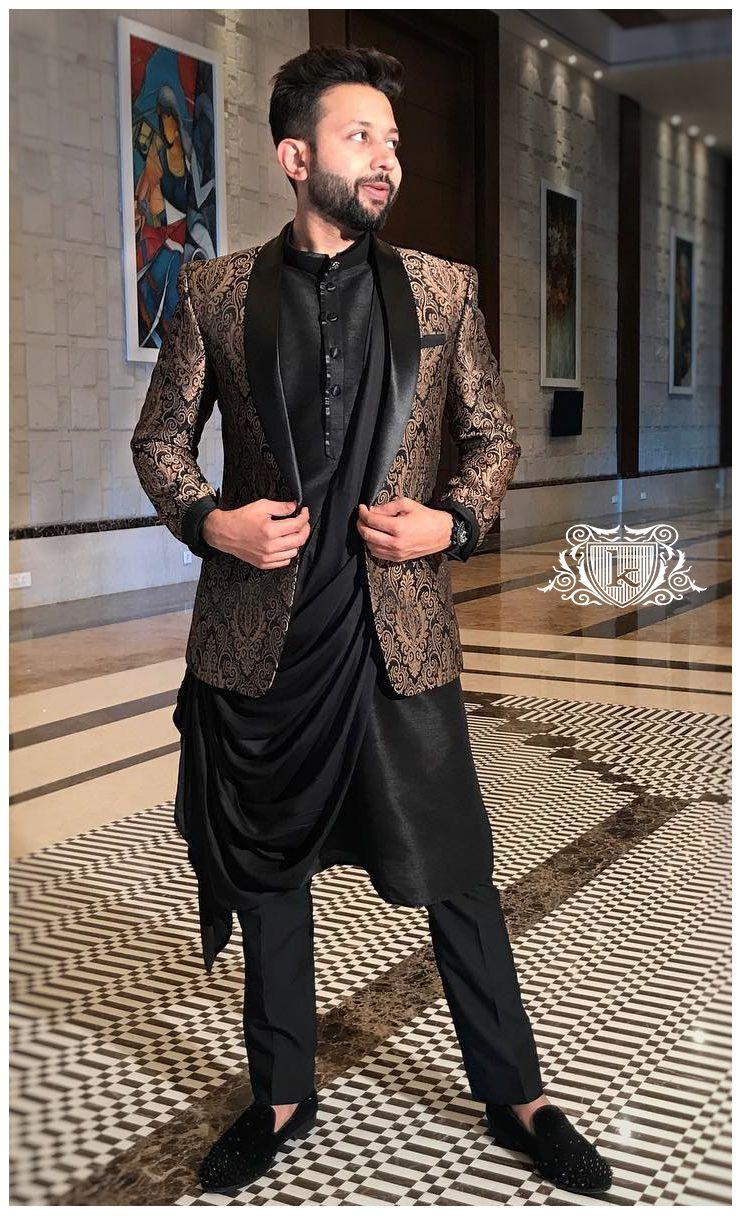 Traditional wear black kurta golden jacket traditional tuxedo jacket