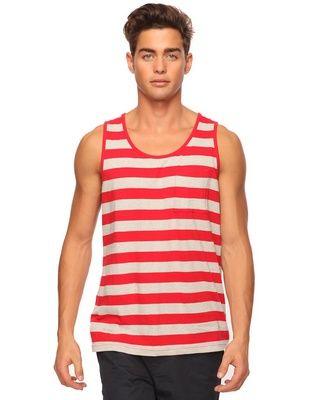 Bold Striped Tank: Grey & Red