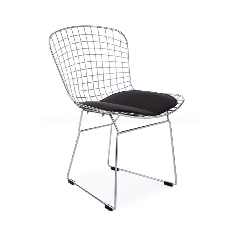 KNOLL Harry Bertoia Side chair 1952 | Design Furniture Classics ... - Bertoia Wire Side Chair - Black Seat Pad > Bertoia Side > Dining Chairs >  Dining