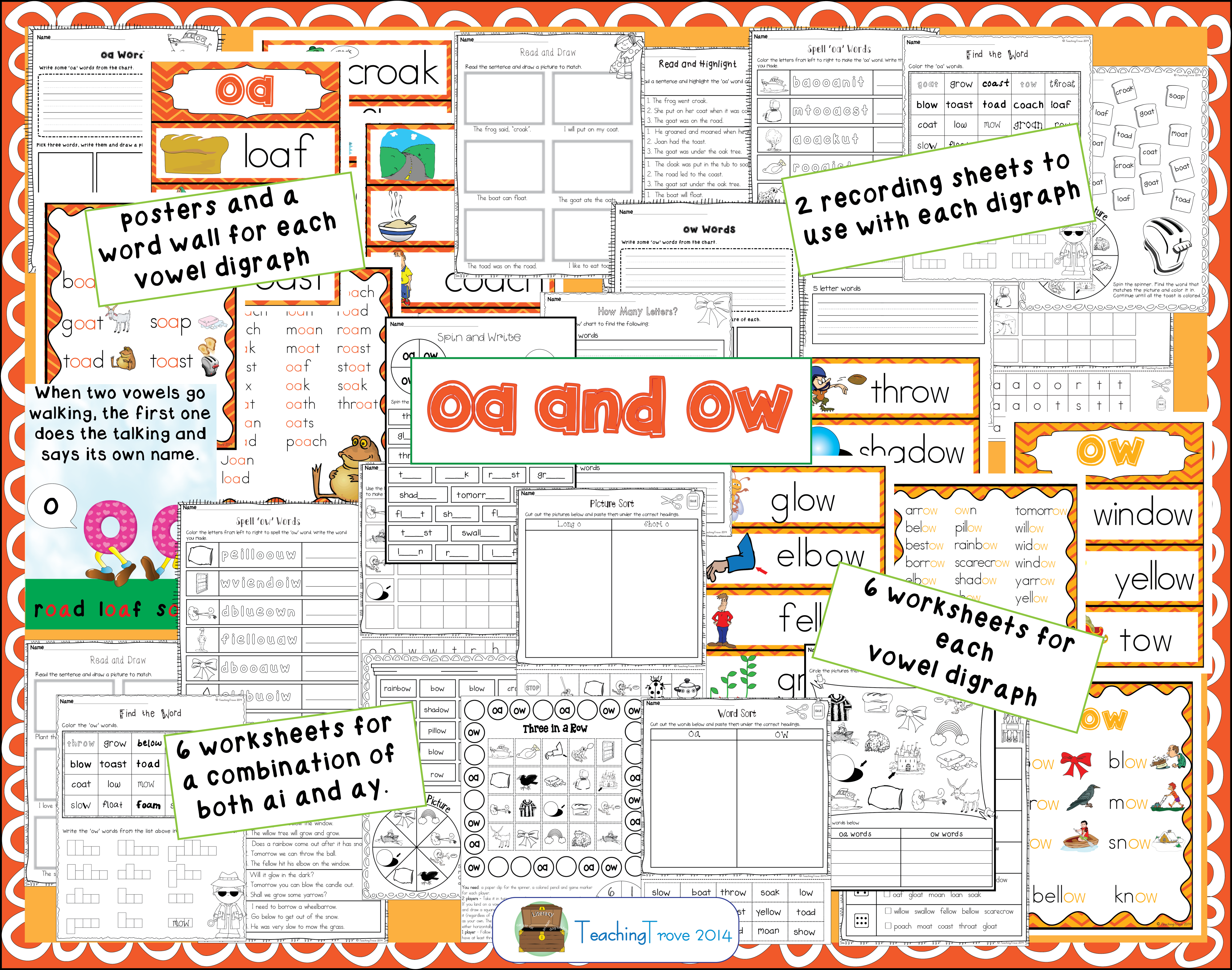 Oa And Ow Vowel Digraphs Posters And Worksheets In