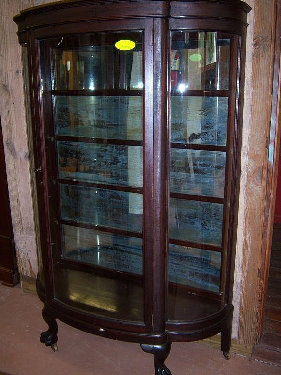Mahogany Curved Glass China Cabinet, Paw Feet - Mahogany Curved Glass China Cabinet, Paw Feet China Cabinets