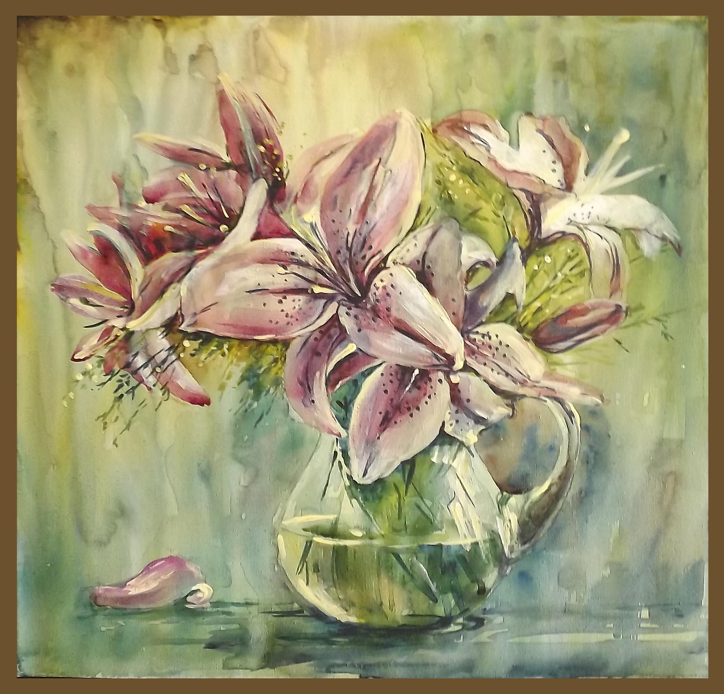Лилии в стеклянной вазе | Картины, Живопись, Лилии