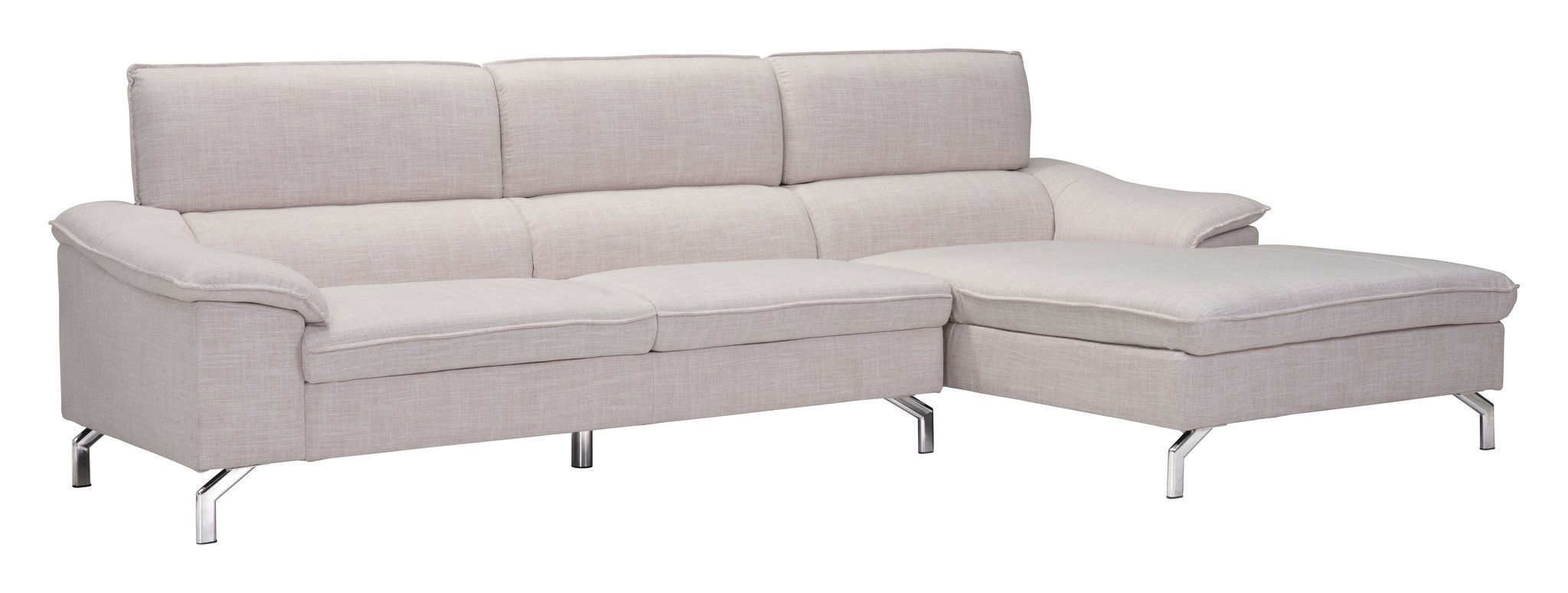 Ephemeral Right Hand Facing Sectional Sofa in Beige Poly Linen