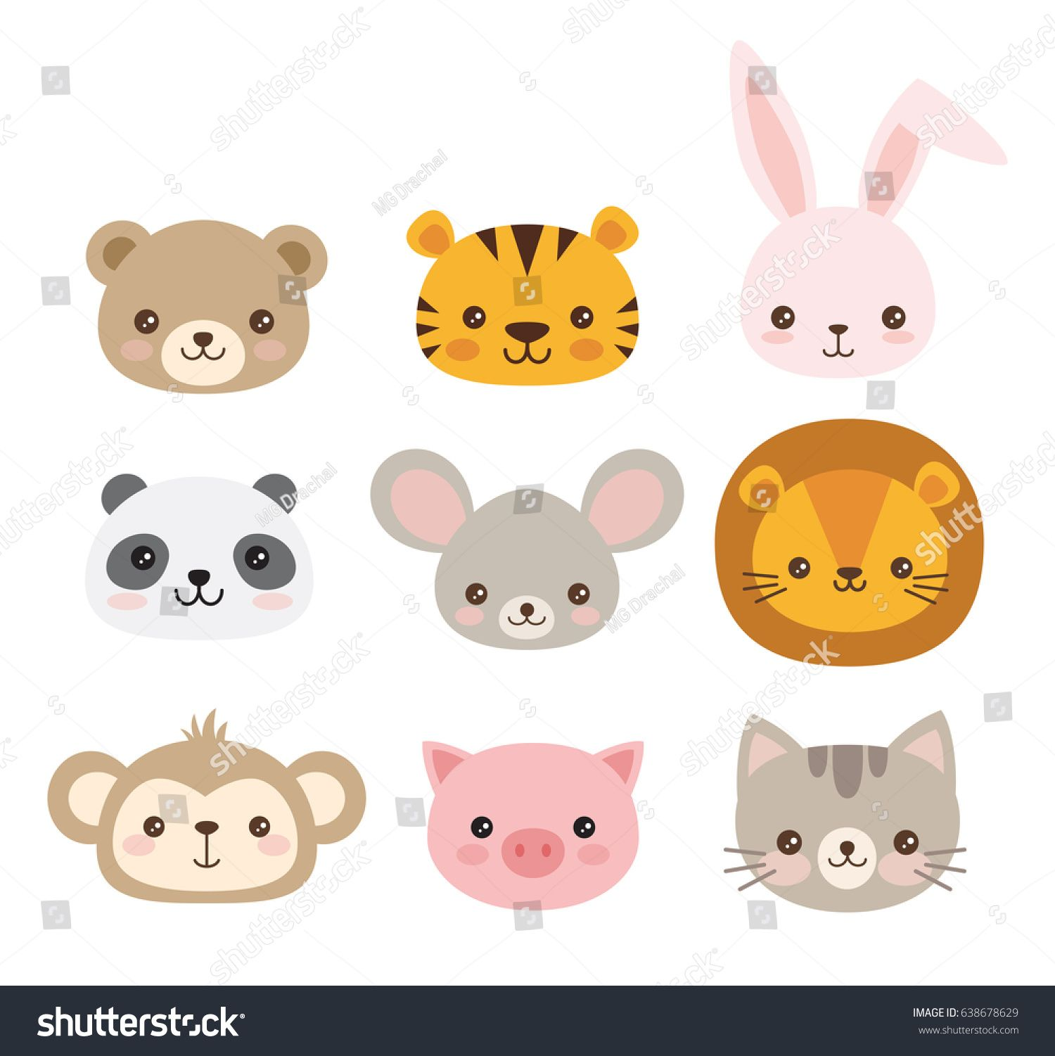 Cute Animal Faces A Set Of Vector Illustrations Of Cartoon Animal Heads Including Bear Pig Mouse Bear Face Drawing Monkey Illustration Cute Animal Drawings