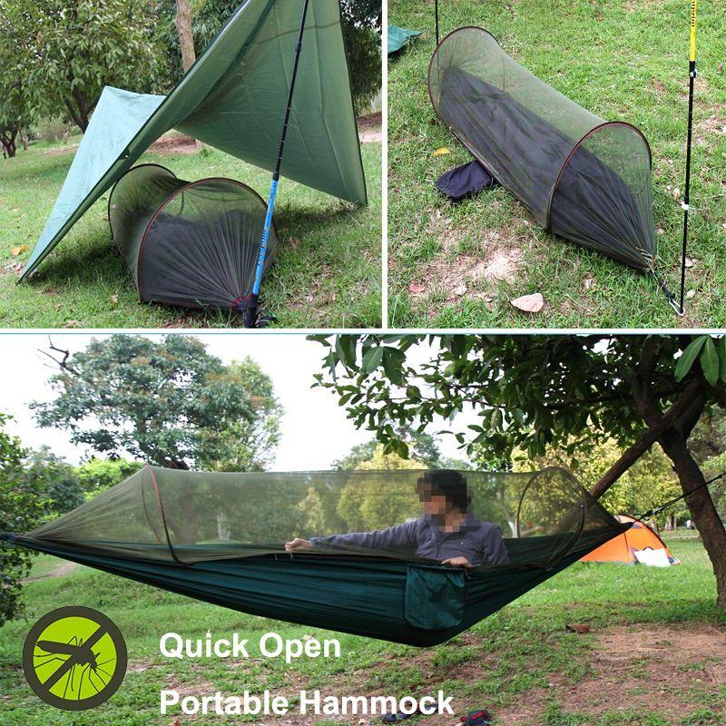 Tewango Multiuse Portable Hammock Camping Survivor Hammock With Mosquito Net Stuff Sack Unnel Shape Swing B Hammock With Mosquito Net Bed Tent Portable Hammock